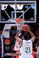 VALENCIA, SPAIN - 25/01/2017. TOP 16 Jornada 4, Valencia Basket vs Unicaja. Pabellon Fuente de San Luis, Valencia, Spain.