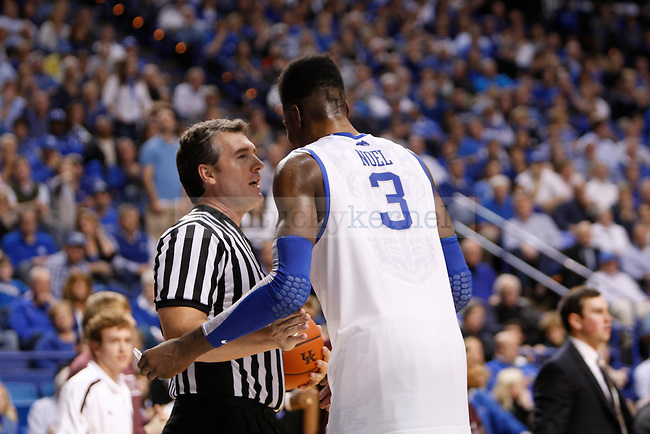 Freshman forward Nerlens Noel talks with a ref during the Men's University of Kentucky basketball game against Texas A&M at Rupp Arena on January 12th, 2013. Photo by Kirsten Holliday | Staff
