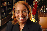 Dr. Charlesetta Deason, principal at the DeBakey School for Health Care Professionals, in the school's library Friday Jan. 5,2007. Deason had surgery to correct her ptosis. (Dave Rossman/For the Chronicle)<br />