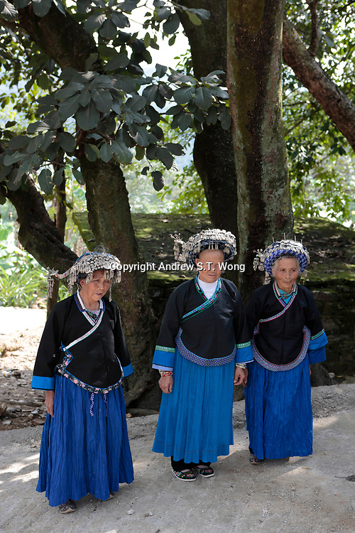 Elderly Bouyei women wear their traditional costumes at Guanling Bouyei and Miao Autonomous County in Guizhou Province, 2018.