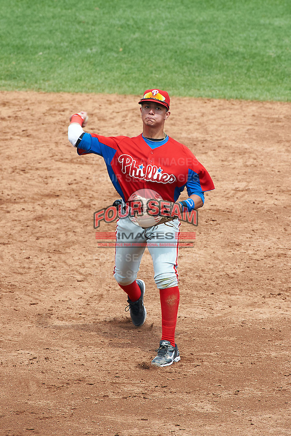 Stephen Alemais #2 of All Hallows High School in New York City, New York playing for the Philadelphia Phillies scout team during the East Coast Pro Showcase at Alliance Bank Stadium on August 1, 2012 in Syracuse, New York.  (Mike Janes/Four Seam Images)