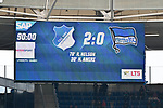 14.04.2019, PreZero Dual Arena, Sinsheim, GER, 1. FBL, TSG 1899 Hoffenheim vs. Hertha BSC Berlin, <br /> <br /> DFL REGULATIONS PROHIBIT ANY USE OF PHOTOGRAPHS AS IMAGE SEQUENCES AND/OR QUASI-VIDEO.<br /> <br /> im Bild: Endstand Endergebnis / Anzeigetafel / Feature<br /> <br /> Foto © nordphoto / Fabisch