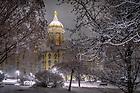 February 17, 2018; Main Building on a snowy night (Photo by Matt Cashore/University of Notre Dame)