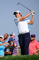 Eun Jeong Seong (KOR) watches her tee shot on 16 during Thursday's first round of the 72nd U.S. Women's Open Championship, at Trump National Golf Club, Bedminster, New Jersey. 7/13/2017.<br /> Picture: Golffile | Ken Murray<br /> <br /> <br /> All photo usage must carry mandatory copyright credit (&copy; Golffile | Ken Murray)
