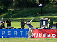 Kevin Phelan (IRL) on the 8th tee during Round 1 of the ISPS HANDA Perth International at the Lake Karrinyup Country Club on Thursday 23rd October 2014.<br /> Picture:  Thos Caffrey / www.golffile.ie