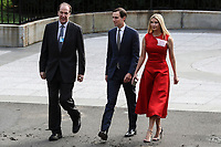 World Bank President David Malpass, Senior Advisor Jared Kushner, and First Daughter and Advisor to the President Ivanka Trump, walk into the Treasury Department for a dinner hosted by the Secretary of the Treasury in honor of the Amir of the State of Qatar on July 8, 2019 in Washington, DC. Photo Credit: Oliver Contreras/CNP/AdMedia