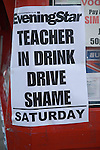 Saturday Evening Star newspaper headline Teacher in Drink Driving Shame, Ipswich, Suffolk, England