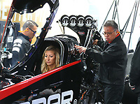 Feb 10, 2018; Pomona, CA, USA; Todd Okuhara crew chief for NHRA top fuel driver Leah Pritchett during qualifying for the Winternationals at Auto Club Raceway at Pomona. Mandatory Credit: Mark J. Rebilas-USA TODAY Sports