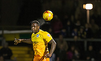 Anthony Stewart of Wycombe Wanderers wins the ball in the air during the Sky Bet League 2 rearranged match between Bristol Rovers and Wycombe Wanderers at the Memorial Stadium, Bristol, England on 1 December 2015. Photo by Andy Rowland.
