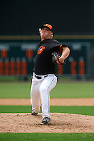 GCL Orioles pitcher Jake Bray (49) delivers a pitch during the first game of a doubleheader against the GCL Rays on August 1, 2015 at the Ed Smith Stadium in Sarasota, Florida.  GCL Orioles defeated the GCL Rays 2-0.  (Mike Janes/Four Seam Images)