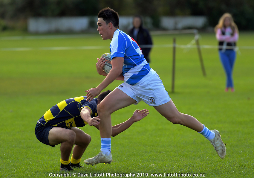 Action from the Wellington secondary schools premier rugby match between St Patrick's Silverstream College and Wairarapa College at St Pat's Silverstream College in Wellington, New Zealand on Saturday, 25 May 2019. Photo: Dave Lintott / lintottphoto.co.nz