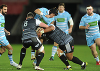 Glasgow Warriors' George Turner is tackled by Ospreys' Rob McCusker and Ma'afu Fia<br /> <br /> Photographer Kevin Barnes/CameraSport<br /> <br /> Guinness Pro14 Round 8 - Ospreys v Glasgow Warriors - Friday 2nd November 2018 - Liberty Stadium - Swansea<br /> <br /> World Copyright &copy; 2018 CameraSport. All rights reserved. 43 Linden Ave. Countesthorpe. Leicester. England. LE8 5PG - Tel: +44 (0) 116 277 4147 - admin@camerasport.com - www.camerasport.com