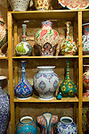 Ceramic vasesd on display for sale in the Covered Bazaar in Istanbul, Turkey