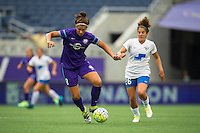 Orlando, FL - Sunday July 10, 2016: Sarah Hagen, Angela Salem during a regular season National Women's Soccer League (NWSL) match between the Orlando Pride and the Boston Breakers at Camping World Stadium.