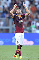 ROME, Italy - September 1, 2013: Roma beats Verona 3-0 during the Serie A match in Olimpico Stadium. In the photo the celebretion for goal of 3-0 scored by Adem Ljajic