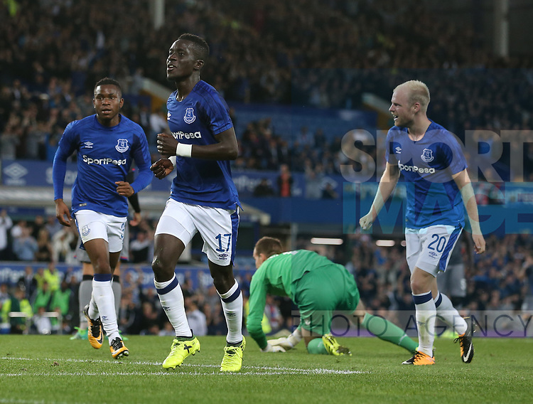 Idrissa Gueye of Everton celebrates scoring the second goal during the Europa League Qualifying Play Offs 1st Leg match at Goodison Park Stadium, Liverpool. Picture date: August 17th 2017. Picture credit should read: David Klein/Sportimage