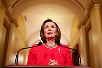 Speaker of the United States House of Representatives Nancy Pelosi (Democrat of California) speaks outside her office on Capitol Hill in Washington, DC on , Monday, March 23, 2020. <br /> Credit: Andrew Harnik / Pool via CNP/AdMedia