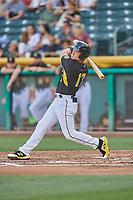 Matt Thaiss (17) of the Salt Lake Bees bats against the Memphis Redbirds at Smith's Ballpark on July 24, 2018 in Salt Lake City, Utah. Memphis defeated Salt Lake 14-4. (Stephen Smith/Four Seam Images)