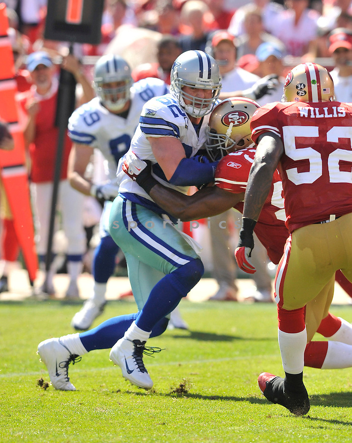 JASON WITTEN, of the Dallas Cowboys, in action during the Cowboy's game against the 49ers on September 18, 2011 at Candlestick Park in San Francisco, CA. The Cowboys beat the 49ers 27-24 in OT.