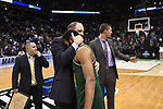 MILWAUKEE, WI - MARCH 16: Vermont Catamounts Head Coach John Becker consoles Vermont Catamounts guard Dre Wills (24) during the 2017 NCAA Men's Basketball Tournament held at BMO Harris Bradley Center on March 16, 2017 in Milwaukee, Wisconsin. (Photo by Jamie Schwaberow/NCAA Photos via Getty Images)