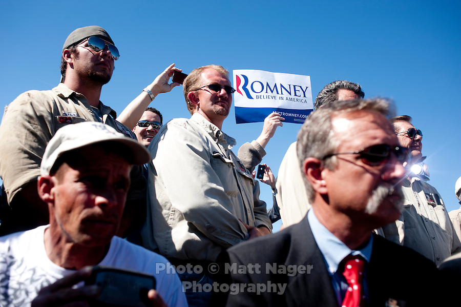 Presumptive Republican candidate for President Mitt Romney (cq) speaks to a crowd at K.P. Kauffman Company in Fort Lupton, Colorado, Wednesday, May 9, 2012. Romney was giving a recovering the economy stump speech.<br /> <br /> Photo by MATT NAGER