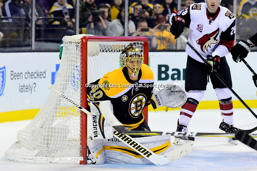 Tuesday, February 28, 2017: Boston Bruins goalie Tuukka Rask (40) covers the net during the National Hockey League game between the Arizona Coyotes and the Boston Bruins held at TD Garden, in Boston, Mass. Boston defeats Arizona 4-1. Eric Canha/CSM