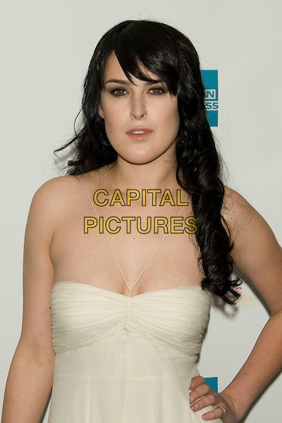 "RUMER WILLIS .2008 Tribeca Film Festival - World Premiere of ""From Within"".at the AMC 19th Street Theater, .New York, NY, USA, April 25, 2008..half length strapless white ivory dress thin straps.CAP/LNC/TOM.©LNC/Capital Pictures"