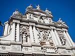 Upper façade, Santa Maria del Giglio church, Venice, Italy.