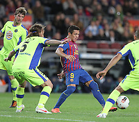 10.04.2012 Bacelona, Spain. La Liga. Picture show Alexis Sanchez  in action during match between FC Barcelona against Getafe at Camp Nou