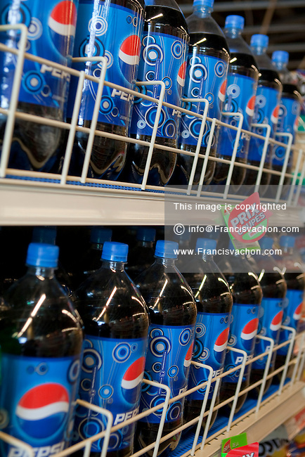 2 liter pepsi bottles are seen in a Metro grocery store in Quebec city March 4, 2009.