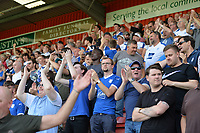 Tranmere fans celebrate there first goal during Stevenage vs Tranmere Rovers, Sky Bet EFL League 2 Football at the Lamex Stadium on 4th August 2018