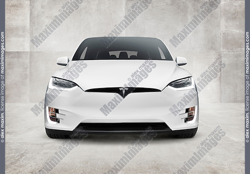 White 2017 Tesla Model X luxury SUV electric car front view on concrete wall background