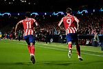 Thomas Lemar (L) and Alvaro Morata (R) of Atletico de Madrid acelebrate goal during the UEFA Europa League match between Atletico de Madrid and Bayer 04 Leverkusen at Wanda Metropolitano Stadium in Madrid, Spain. October 22, 2019. (ALTERPHOTOS/A. Perez Meca)