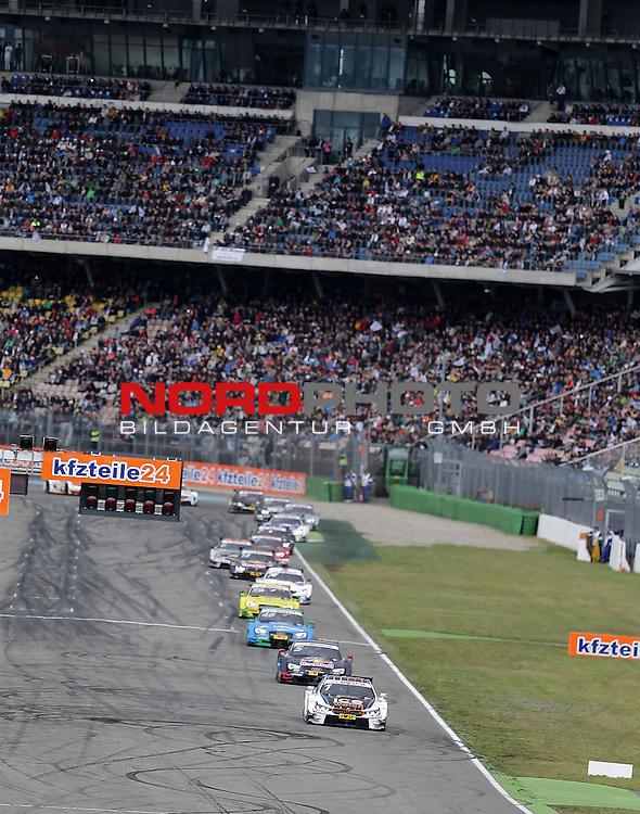DTM 2015, 01.Lauf Hockenheimring, 01.05. - 03.05.15 <br /> Start zum 2. Rennen der DTM<br /> Marco Wittmann (DEU#1) BMW Team RMG BMW M4 DTM ,Mattias Ekstr&ouml;m (SWE#5) Audi Sport Team Abt Sportsline Audi RS 5 DTM , Edoardo Mortara (ITA#48) Audi Sport Team Abt Audi RS 5 DTM <br /> <br /> <br /> Foto &copy; nordphoto /  Bratic