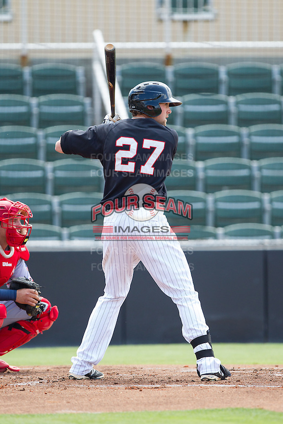 Trey Michalczewski (27) of the Kannapolis Intimidators at bat against the Hagerstown Suns at CMC-Northeast Stadium on June 1, 2014 in Kannapolis, North Carolina.  The Intimidators defeated the Suns 5-1 in game one of a double-header.  (Brian Westerholt/Four Seam Images)