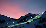 2/9/06 -- The 2006 Torino Winter Olympics -- Sestriere , Italy.The lights on the Slalom course at sunrise at the Sestriere Colle resort in Italy..Photo by Scott Sady, USA TODAY staff.