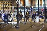 © Joel Goodman - 07973 332324 . 09/08/2011 . Manchester , UK . Mounted police in Piccadilly , as disorder spreads to Manchester during a 4th night of rioting and looting , following a protest against the police shooting of Mark Duggan in Tottenham . Photo credit : Joel Goodman