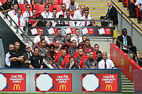 Arsenal Manager, Arsene Wenger and his Coaching staff and players including Alexis Sanchez (back row) look on during Arsenal vs Chelsea, FA Community Shield Football at Wembley Stadium on 6th August 2017