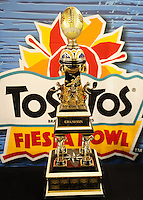 Jan. 1, 2011; Glendale, AZ, USA; Detailed view of the Fiesta Bowl champion trophy during the game between the Connecticut Huskies against the Oklahoma Sooners in the 2011 Fiesta Bowl at University of Phoenix Stadium. The Sooners defeated the Huskies 48-20. Mandatory Credit: Mark J. Rebilas-