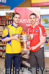 Patrick Curtin and Marc O'Se pictured at the launch of the Kerry Senior Football Championship sponsored by Garveys Supervalu at Garveys Rock Street Tralee on Monday.