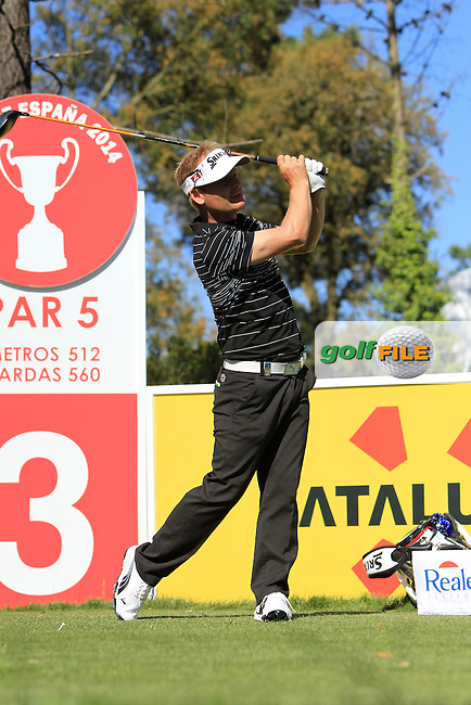 Soren Kjeldsen (DEN) on the 3rd tee during Thursday's Round 1 of The Open De Espana at The PGA Catalunya Resort. 15th May 2014.<br /> Picture:  Thos Caffrey / www.golffile.ie