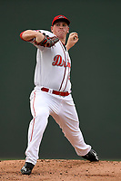 Starting pitcher Jay Groome (28) of the Greenville Drive delivers a pitch in a game against the Asheville Tourists on Wednesday, August 2, 2017, at Fluor Field at the West End in Greenville, South Carolina. Greenville won, 1-0. (Tom Priddy/Four Seam Images)