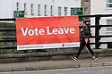 A woman walks past a 'Vote Leave' poster fixed to a bridge in Enniskillen, County Fermanagh, Thursday, June 23rd, 2016, as voting got under way for the EU referendum on wether the United Kingdom should remain a member of the European Union or Leave the European Union. Photo/Paul McErlane