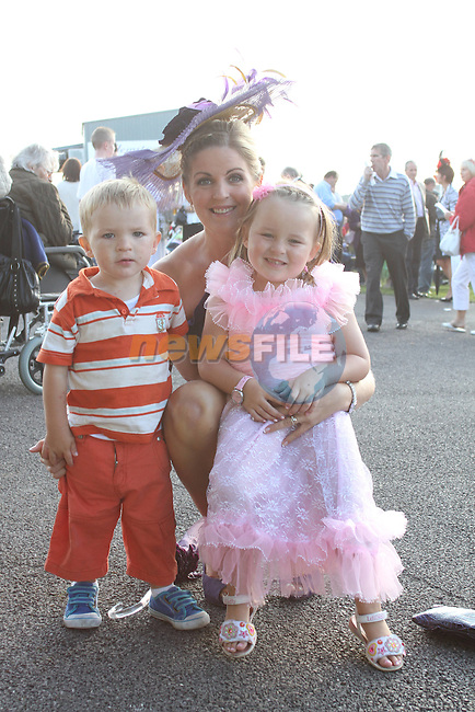 Siobhan, Cian and Katie from Ardee at the Bellewstown Races..Picture Jenny Matthews/Newsfile.ie