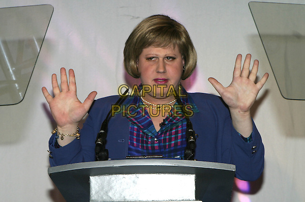 MATT LUCAS AS MAJORIE DAWES .2004 Telegraph Travel Awards, Waldorf Hilton, Aldwych, London, October 11th 2004..half length drag dressed as women in charater drag Little Britain  hands funny.Ref: AH.www.capitalpictures.com.sales@capitalpictures.com.©Capital Pictures.
