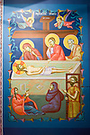 Miloje Milinkovich paints and retouches his icons to perfection on the rear wall of  historic St. Sava Serbian Orthodox Church, Jackson, Calif.