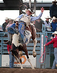 Chase Erickson competes in the bareback bronc riding event at the Reno Rodeo, in Reno, Nev. on Friday night, June 22, 2012..Photo by Cathleen Allison