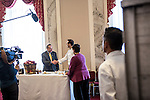 Sen. Charles Schumer shakes hands with executive chef Shannon Shaffer after preparing Hudson Valley apple pie, sour cream ice cream, aged cheese and honey, which will be served for the inaugural lunch, on Friday, January 4, 2013 in Washington, DC.