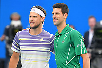 January 2, 2020: 5th seed DOMINIC THIEM (AUT) and 2nd seed NOVAK DJOKOVIC (SRB) pose for photographs on Rod Laver Arena in the Men's Singles Final match on day 14 of the Australian Open 2020 in Melbourne, Australia. Photo Sydney Low