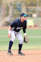 Carlos Ramirez #34 of the Seattle Mariners plays in a minor league spring training game against the San Diego Padres at the Padres minor league complex on March 19, 2011  in Peoria, Arizona. .Photo by:  Bill Mitchell/Four Seam Images.